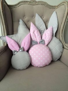 Rabbit pillow rabbit pillow nursery decor handmade pillow kids pillow p Bow Pillows, Cute Pillows, Sewing Pillows, Kids Pillows, Bunny Crafts, Easter Crafts, Sewing Crafts, Sewing Projects, Pillow Crafts