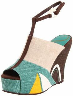 Vogue Women's Angel In A Snare Wedge Sandal  shop all Vogue customer reviews (1)  how it fits size: width: B color:  Black/Red  Brown/Teal  $109.00