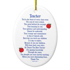 Teacher Ceramic Ornament Teacher Appreciation Poems, Teacher Poems, Teacher Cards, Teacher Gifts, Volunteer Appreciation, Student Gifts, Thank You Greeting Cards, Thank You Greetings, Thank You Note Cards