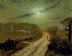 John Atkinson Grimshaw (1836-1893).   A moonlit landscape,  oil on board,   14¼ x 18 in. (35.8 x 45 cm.)