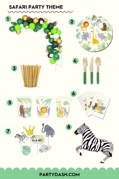 When it's time to throw a safari party, there's just one rule: take a walk on the wild side. Shop our jungle themed party box now! Safari Party Favors, Safari Party Decorations, Safari Theme Birthday, Party Favor Bags, Birthday Party Themes, Jungle Party, Jungle Theme, Animal Plates