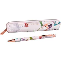 Ted Baker Touchscreen Pen (150 BRL) ❤ liked on Polyvore featuring home, home decor, office accessories, multi, zip pouch, colored ballpoint pens, colored pens, key pouch and floral pens