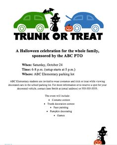 Promote your Trunk or Treat event with this free flyer on our File Exchange. Customize for your school.
