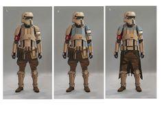 """""""Le design final est à mon avis un très bon mélange entre les soldats clones, les scout troopers et les stormtroopers, le tout étant très spécifique à Scarif. Gareth a toujours voulu un stormtrooper aux tons chauds, à la couleur de sable, pour que ça donne du sens au fait qu'ils soient sur Scarif où il y a du sable."""" Doug Chiang."""