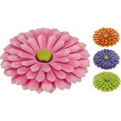 Metalen decoratie bloem 34 cm. Gekleurde decoratie bloem van ongeveer 34 cm groot. De ronde bloem is in verschillende kleuren verkrijgbaar en gemaakt van metaal.