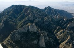 Aerial view of Mt Kimball, Finger Rock, and Wilderness and Leviathan Domes: Pusch Ridge Wilderness, AZ
