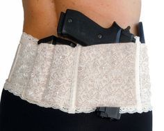 Ladies Womens Concealed Carry Lace Waistband Gun Holster-Hidden Heat Lace II - with room for 2 extra mags