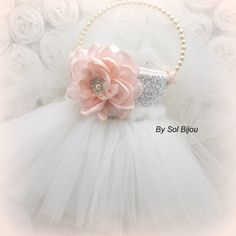 Flower Girl Basket Tutu Basket Bridal Basket in Light by SolBijou, $125.00