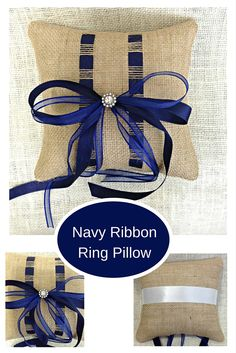 Add a touch of rustic elegance to your Navy themed wedding with this lovely Burlap Ribbon Ring Pillow. The Ribbon is woven directly in the burlap for a beautiful timeless look. Don't need Navy? This is available in a variety of colors! www.sherisewsweet.etsy.com