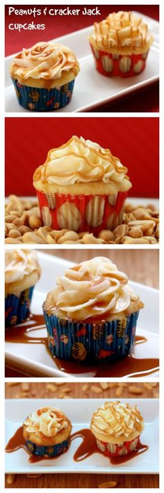 Peanuts and Cracker Jack Cupcakes - make your favorite sports fan this fun dessert for a baseball birthday party, or for anyone who loves peanut butter and caramel! | cupcakesandkalechips.com