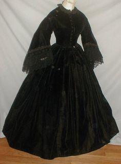 Civil War Era 1860's Black Velvet Dress | eBay