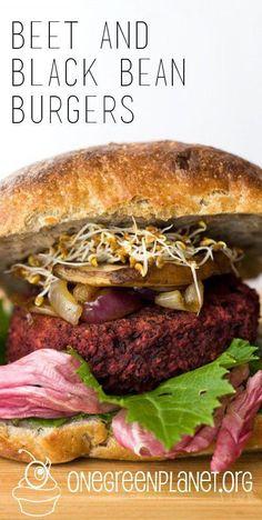 Beet and Black Bean Burgers [Vegan, Gluten-Free] – Kolay yemek Tarifleri Beetroot Burgers, Meatless Burgers, Turkey Burgers, Vegetarian Recipes, Healthy Recipes, Vegan Burger Recipes, Vegan Beet Recipes, Vegetarian Barbecue, Veggies