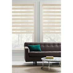 Create a cozy atmosphere in your living space with the Real Simple Cordless Layered Shade. The cordless window shade beautifully filters light while open, provides UV protection, and rolls up into the decorative head rail. Window Blinds & Shades, Window Roller Shades, Blinds For Windows, Bay Window Living Room, Window Treatments Living Room, Fitted Blinds, Contemporary Windows, Horizontal Blinds, Living Room Remodel
