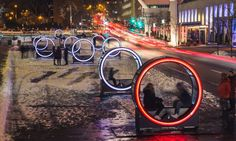 A temporary public art installation in Montreal invites visitors to power their own interactive image and light show.