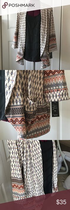 Soft Aztec Jacket Robert Louis poly/spandex stretch Jacket size one in XL and one L available. Lightweight for when you need a little extra something. 3/4 sleeves and two generously sized pockets! Make an Offer! 😘 Robert Louis Jackets & Coats