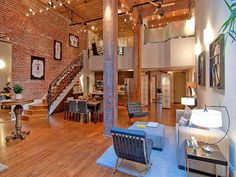 Exposed brick and timber interiors - loft in San Francisco. Love the staircase too!  ...this is in SF? where???