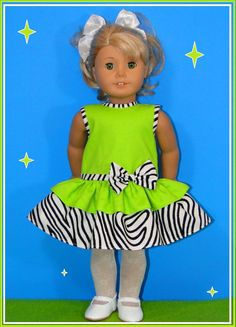 Adorable Lime Green and Animal Print Dress by bestdollboutique,