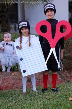 These rock paper scissors costumes are adorable!