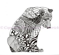 Black and White Art Pen and Ink Animals Polar Bear Illustration Signed 8 x 10 Print Home Decor Design Drawing
