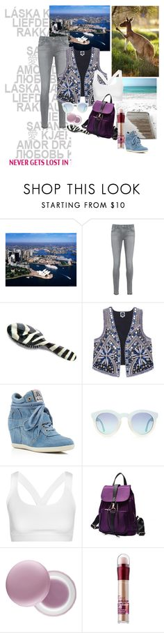 """""""Travel set"""" by clairejagus ❤ liked on Polyvore featuring Lonely Planet, AG Adriano Goldschmied, Rock & Ruddle, Ash, Ivy Park, LineShow, It's skin and Maybelline"""