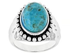 oval cabochon turquoise rhodium over sterling silver solitaire ring. Measures approximately x Not sizeable. Turquoise Gemstone, Gemstone Colors, Gemstone Rings, Broken Chain, Blue Topaz Ring, Sterling Silver Rings, Jewelry Collection, Jewelry Sets, Gemstones