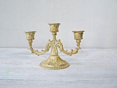 Art Nouveau Golden 3 arms Candelabra Ornate Gold by MeshuMaSH, $45.00