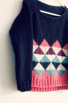 Intarsia sweater, inspired by the knitter's mom. Stellar color choice.
