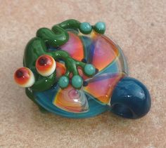 Frog and flower necklace glass beads pendant Handmade custom jewelry Lampwork beads Glass flowers Boro beads on Etsy, $20.00