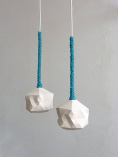 Faceted Globe Pendant Light Leather Braided Pair by RawDezign