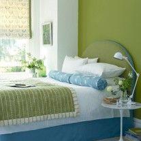 camera da letto verde - camera da letto con parete verde | cameras ... - Pareti Verdi Camera Da Letto