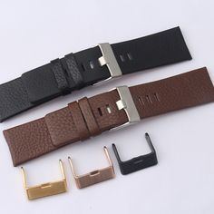 19c4a6482f7 Click to Buy    Pesno Genuine Leather Watch Band Black Brown Calf ...