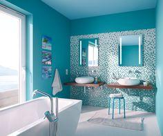 tyrkys mini mozaika - koupelna