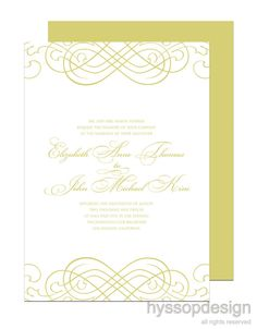 Chartreuse!! Flourish wedding invitations