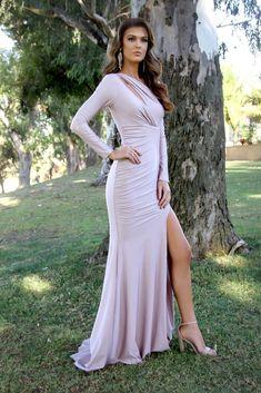 a02416dc84 Long Sleeve Body Hugging Shoulder Cut Out Blush Prom Dress 33937
