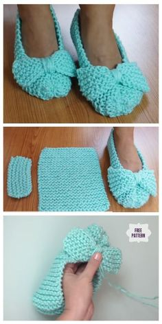 Easiest Ballet Flat House Slippers from Square Free Knitting Pattern - Video Knit Easiest House Slippers from Square Free Knitting Pattern: Knit Bow Slippers, Garter stitch slippers Knit Slippers Free Pattern, Crochet Slipper Pattern, Knitted Slippers, Crochet Shoes, Crochet Slipper Boots, Knit Crochet, Crochet Granny, Easy Knitting, Knitting Socks