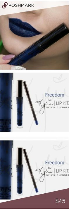 NWT Kylie jenner cosmetics freedom lip kit NWT Kylie jenner cosmetics, #authentic, perfect condition!New!Never used,perfect condition! This brand is sold out on all Kylie Jenner website.NWT, selling this designer brand for a great price! Kylie Cosmetics Makeup Lip Balm & Gloss