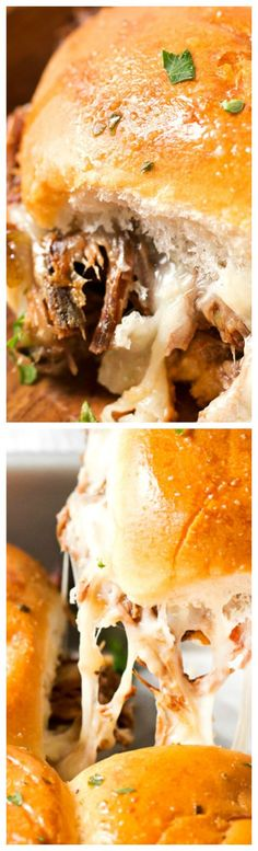 Baked Italian Beef Sliders ~ These easy sliders are piled high with slow cooker shredded Italian beef, plenty of gooey cheese and brushed with melted garlic butter!
