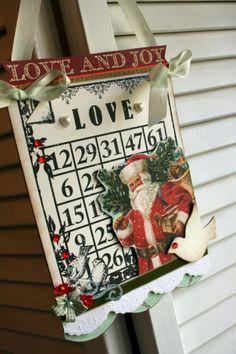 Vintage Style bingo card Christmas LOVE Santa decoration party decor sign plaque