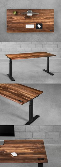 Minimalist wooden standing desk by ergonofis. Built of the finest local wood species like birch, walnut or maple, Sway is astonishingly robust. Wood Office Desk, Home Office Setup, Home Office Space, Desk Setup, Office Table, Ikea Office, Office Spaces, Work Spaces, Dark Wood Desk