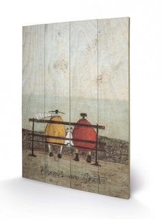 SAM TOFT (BUMS ON SEAT) PRINTED WOODEN WALL HANGING SIZE 43cm X 59cm
