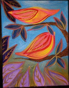 bird and leaves colorful acrylic painting by lifeasagift on Etsy, $50.00
