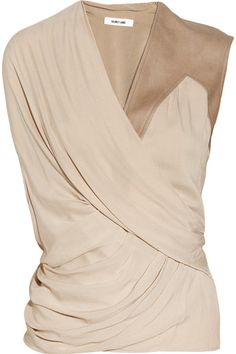 Blush voile Draped wrap-effect front, asymmetric brushed-leather trim at one…