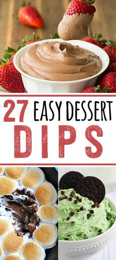 27 Easy Dessert Dips That Anyone Can Make. Great recipes for your next party or summer BBQ. Everything from Smores to banana pudding to chocolate in dip form. Brownie Desserts, Mini Desserts, Easy Desserts, Delicious Desserts, Yummy Food, Dessert Dips, Oreo Dessert, Dessert Recipes, Dip Recipes