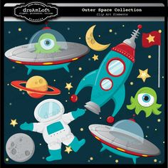 Outer Space Clip Art  Formats: You will receive seprate JPG & PNG files at 300 dpi, as well as EPS file.  License: Includes small commercial use, no credit or fee required. You may not sell or give away clipart AS IS or altered.
