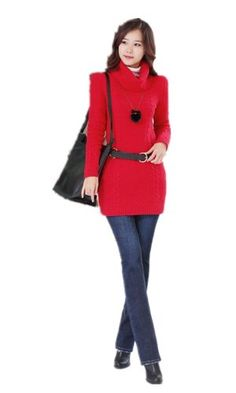 Women Ribbed Cowl Neck Solid Long Sleeve Cable-knit Sweater Dress (Red) v28 http://www.amazon.com/dp/B00H97AD18/ref=cm_sw_r_pi_dp_KUDpub09Y6VXA
