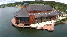 Teatro del Lago, Frutillar, Chile Places To Travel, Places To See, Juan Fernandez, South America, Gazebo, Around The Worlds, Outdoor Structures, House Styles, City