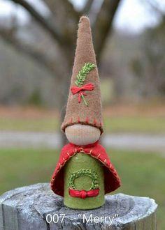 """Merry"" -- peg gnome handmade from wooden peg, wool felt, and cotton floss."