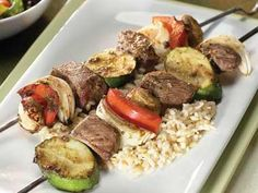 Beef and Vegetable Kabobs Grilling Recipes, Pork Recipes, Salad Recipes, Chicken Recipes, Cooking Recipes, Healthy Recipes, Healthy Meals, Recipies, Cooking Ham