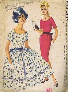 MISSES ONE PIECE DRESS WITH FULL OR SLIM SKIRT  McCall's Pattern 1960 - 5744  Vintage Dress Pattern with Slim or Full Skirt Raglan sleeve Dress with dart fitted bodice and three-gore slim skirt or one-piece gathered skirt.  Gathered skirt has upper and lower sections with self ruffle included in seam. Scoop neck and two piece sleeves of slim Dress have gathered ruffled in facing seams. Pleat in back of slim skirt which may be lined.
