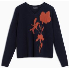 MAX&Co. Boiled wool jumper with insert (€165) ❤ liked on Polyvore featuring tops, sweaters, midnight blue pattern, long sleeve jumper, boiled wool sweater, flower print sweater, print sweater and long sleeve v neck sweater